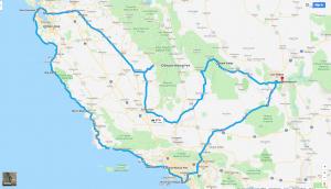 California Trip Route