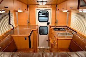 Flatbed truck camper interior